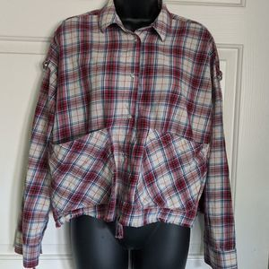 Zara Premium Denim Plaid Cropped Shirt